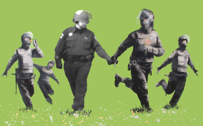 Pepper Spray Cop in a Banksy Painting